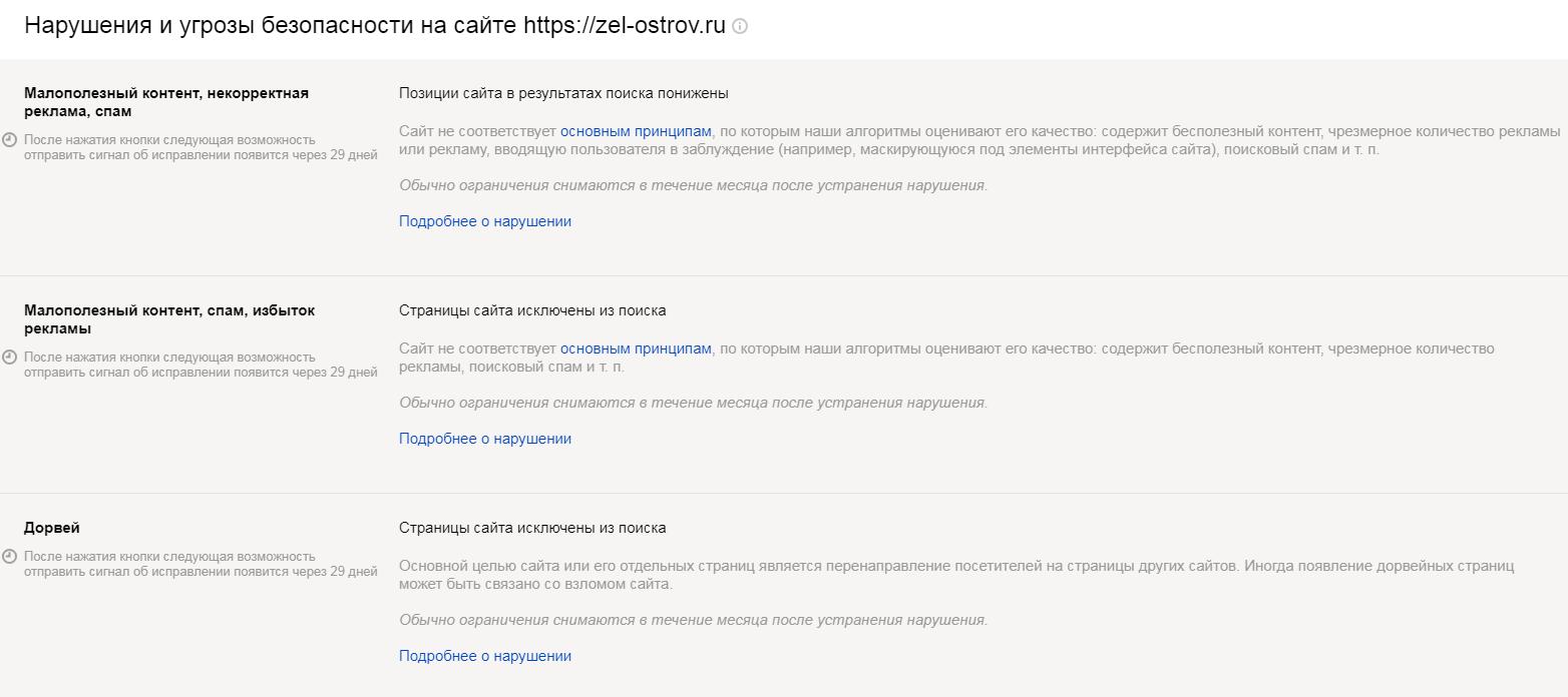 Санкции Яндекса на сайт Зеленого Острова